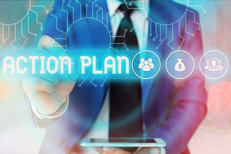 Word writing text Action Plan. Business photo showcasing detailed plan outlining actions needed to reach goals or vision