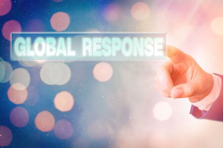 Writing note showing Global Response. Business concept for indicates the behaviour of material away from impact point