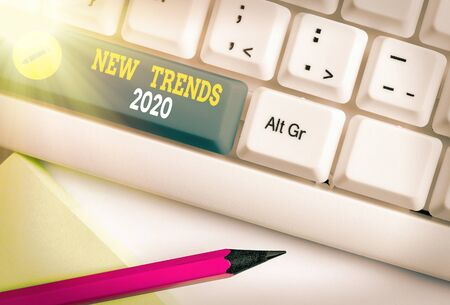 Word writing text New Trends 2020. Business photo showcasing general direction in which something is developing 版權商用圖片