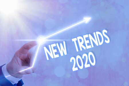 Text sign showing New Trends 2020. Business photo showcasing general direction in which something is developing 版權商用圖片