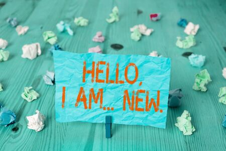 Handwriting text Hello I Am New. Conceptual photo introducing oneself in a group as fresh worker or student