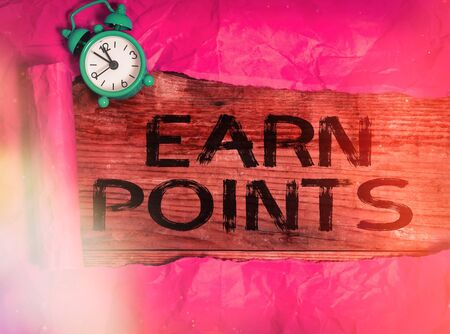 Writing note showing Earn Points. Business concept for getting praise or approval for something you have done