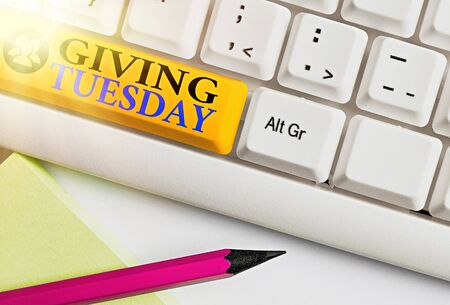 Text sign showing Giving Tuesday. Business photo showcasing international day of charitable giving Hashtag activism