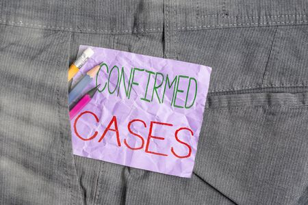 Conceptual hand writing showing Confirmed Cases. Concept meaning set of circumstances or conditions requiring action Writing equipment and purple note paper inside pocket of trousers