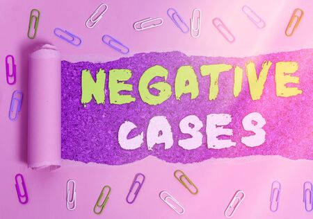 Handwriting text writing Negative Cases. Conceptual photo circumstances or conditions that are confirmed to be false