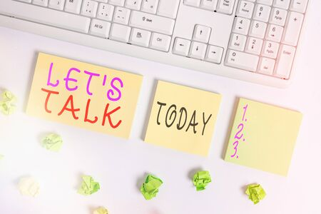 Conceptual hand writing showing Let S Is Talk. Concept meaning suggesting in the beginning of a conversation on the topic Flat lay above blank copy space sticky notes with business concept