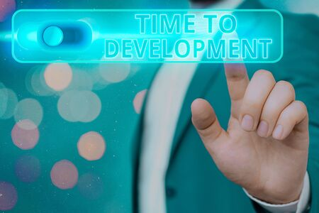 Handwriting text Time To Development. Conceptual photo a length of time during which a company grows or develop Stock Photo