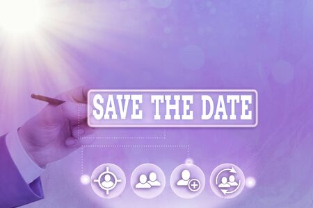 Conceptual hand writing showing Save The Date. Concept meaning reserve the mentioned future wedding date on their calendar Banque d'images