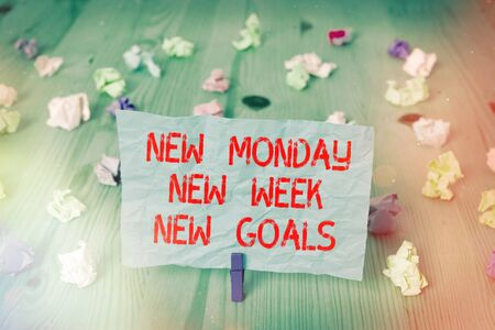 Handwriting text New Monday New Week New Goals. Conceptual photo showcasing next week resolutions To do list