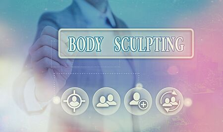 Conceptual hand writing showing Body Sculpting. Concept meaning activity of increasing the body s is visible muscle tone 版權商用圖片