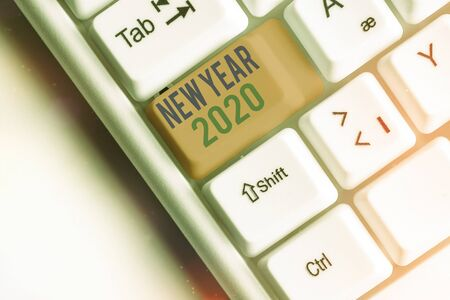 Writing note showing New Year 2020. Business concept for Greeting Celebrating Holiday Fresh Start Best wishes
