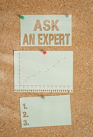 Text sign showing Ask An Expert. Business photo showcasing consult someone who has skill about something or knowledgeable Corkboard color size paper pin thumbtack tack sheet billboard notice board