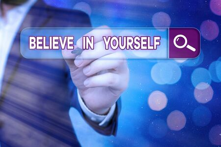 Word writing text Believe In Yourself. Business photo showcasing common piece of advice that you can do everything 版權商用圖片