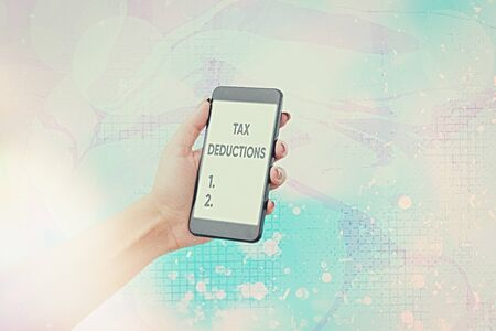 Text sign showing Tax Deductions. Business photo showcasing an amount or cost that subtracted from someone s is income