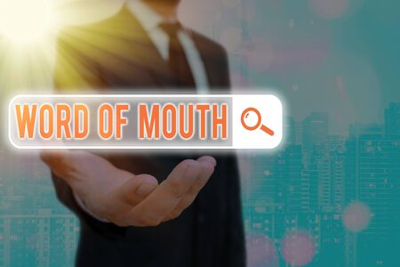 Text sign showing Word Of Mouth. Business photo text information that is transmitted without being written down