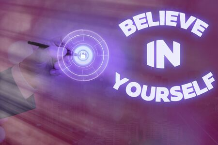 Handwriting text writing Believe In Yourself. Conceptual photo common piece of advice that you can do everything 版權商用圖片