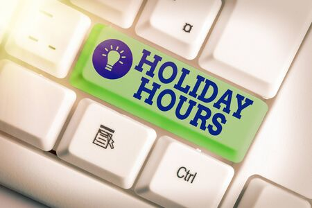 Word writing text Holiday Hours. Business photo showcasing employee receives twice their normal pay for all hours