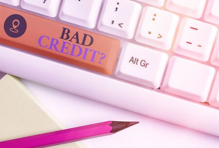 Handwriting text writing Bad Creditquestion. Conceptual photo inabilityof an individual to repay a debt on time and in full Stok Fotoğraf