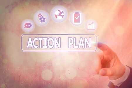 Conceptual hand writing showing Action Plan. Concept meaning detailed plan outlining actions needed to reach goals or vision Stock Photo