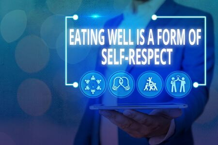 Handwriting text Eating Well Is A Form Of Self Respect. Conceptual photo a quote of promoting healthy lifestyle