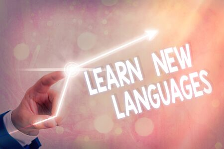 Text sign showing Learn New Languages. Business photo showcasing developing ability to communicate in foreign lang
