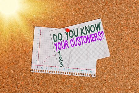 Conceptual hand writing showing Do You Know Your Customers question. Concept meaning asking to identify a customer s is nature Corkboard size paper thumbtack sheet billboard notice board