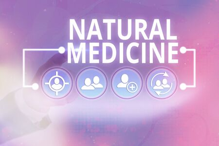 Word writing text Natural Medicine. Business photo showcasing any of various systems of healing or treating disease Stock Photo