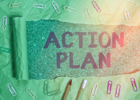 Handwriting text writing Action Plan. Conceptual photo detailed plan outlining actions needed to reach goals or vision 스톡 콘텐츠