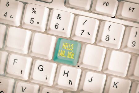 Handwriting text writing Hello I Am New. Conceptual photo used greeting or begin telephone conversation Stock Photo