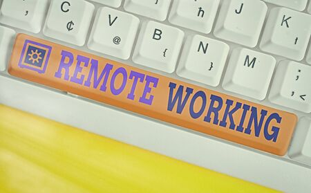 Text sign showing Remote Working. Business photo text style that allows professionals to work outside of an office