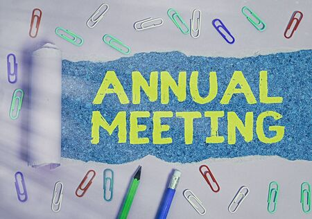 Word writing text Annual Meeting. Business photo showcasing yearly meeting of the general membership of an organization