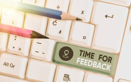 Writing note showing Time For Feedback. Business concept for information about reactions to a product or services
