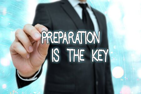 Word writing text Preparation Is The Key. Business photo showcasing it reduces errors and shortens the activities