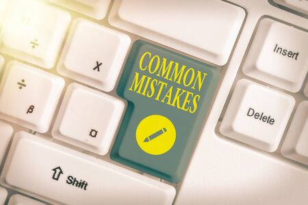 Text sign showing Common Mistakes. Business photo text actions that are often used interchangeably with error