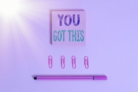 Word writing text You Got This. Business photo showcasing to encourage someone to succeed in dealing with something Colored blank sticky note clips binders gathered pen trendy cool background