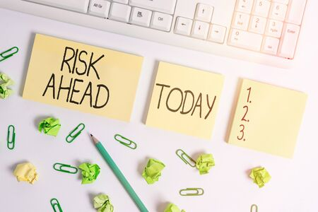 Word writing text Risk Ahead. Business photo showcasing A probability or threat of damage, injury, liability, loss Flat lay above blank copy space sticky notes with business concept 版權商用圖片