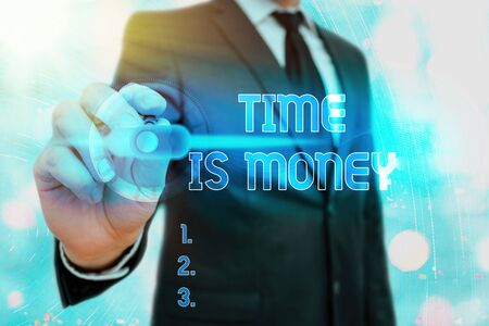 Writing note showing Time Is Money. Business concept for time is a valuable resource Do things as quickly as possible 写真素材
