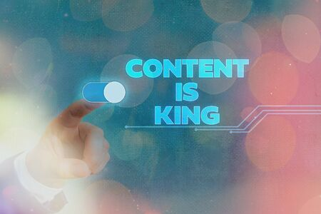 Conceptual hand writing showing Content Is King. Concept meaning believe that content is central to the success of a website
