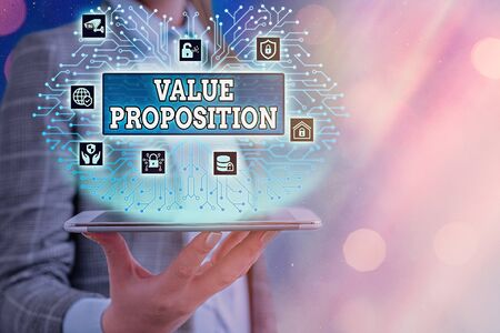 Conceptual hand writing showing Value Proposition. Concept meaning feature intended to make a company or product attractive