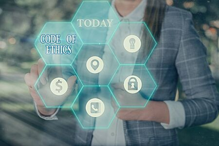 Text sign showing Code Of Ethics. Business photo text basic guide for professional conduct and imposes duties
