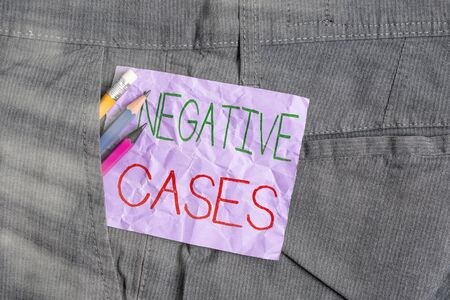 Conceptual hand writing showing Negative Cases. Concept meaning circumstances or conditions that are confirmed to be false Writing equipment and purple note paper inside pocket of trousers Foto de archivo