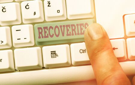 Writing note showing Recoveries. Business concept for process of regaining possession or control of something lost Фото со стока