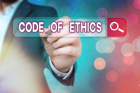 Word writing text Code Of Ethics. Business photo showcasing basic guide for professional conduct and imposes duties