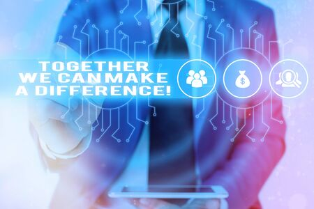 Word writing text Together We Can Make A Difference. Business photo showcasing be very important some way in like team or group Banco de Imagens