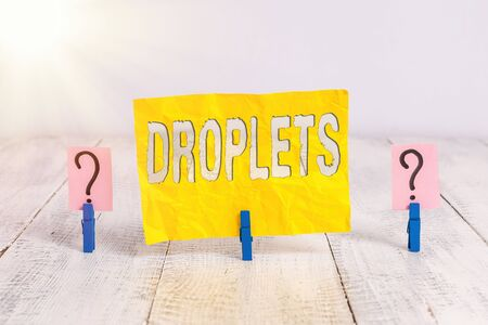 Writing note showing Droplets. Business concept for very small drop of a liquid can be found in certain wet places Crumbling sheet with paper clips placed on the wooden table