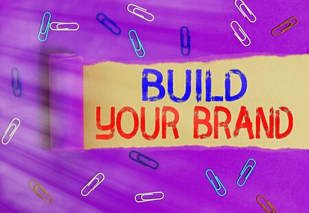 Text sign showing Build Your Brand. Business photo text enhancing brand equity using advertising campaigns