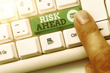 Word writing text Risk Ahead. Business photo showcasing A probability or threat of damage, injury, liability, loss