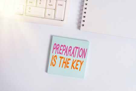 Handwriting text writing Preparation Is The Key. Conceptual photo it reduces errors and shortens the activities Empty note paper on the white background by the pc keyboard with copy space