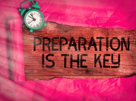 Writing note showing Preparation Is The Key. Business concept for it reduces errors and shortens the activities