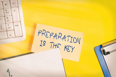 Writing note showing Preparation Is The Key. Business concept for it reduces errors and shortens the activities Empty orange paper with copy space on the yellow table